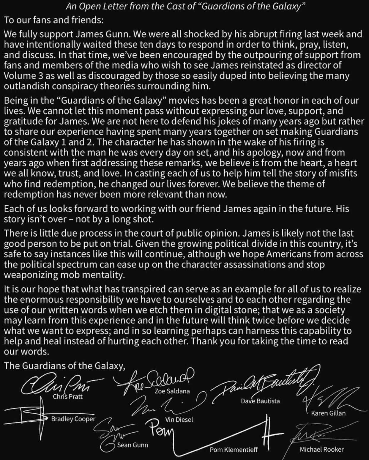 Disney Overweegt Om James Gunn Dan Toch Niet Te Ontslaan